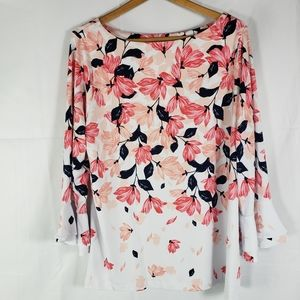 Charter Club  Floral Flutter Sleeve Blouse 2X NWT